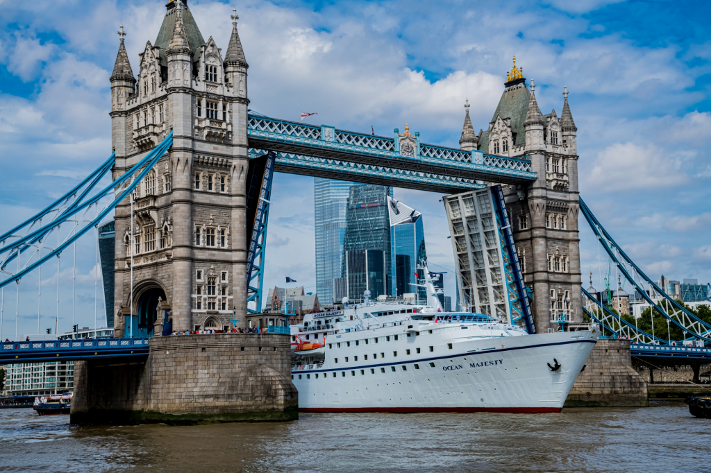 MS Ocean Majesty under Tower Bridge